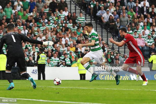 Tom Rogic of Celtic runs through to score during the William Hill Scottish Cup Final between Celtic and Aberdeen at Hampden Park on May 27 2017 in...