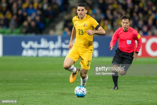Tom Rogic of the Australian National Football Team controls the ball during the FIFA World Cup Qualifier Match Between the Australian National...