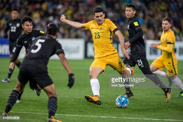 Tom Rogic of the Australian National Football Team has an attempt at goal during the FIFA World Cup Qualifier Match Between the Australian National...