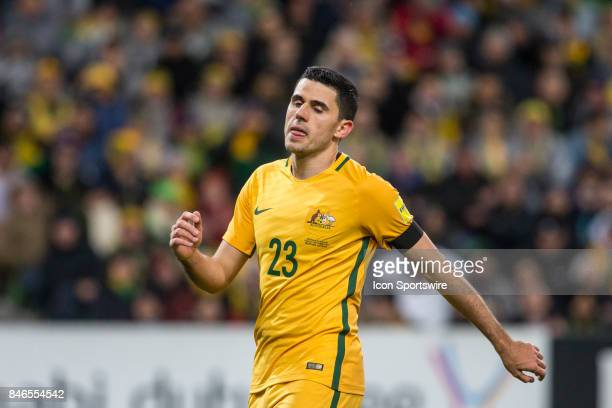 Tom Rogic of the Australian National Football Team shows his disappointment after a failed attempt at goal during the FIFA World Cup Qualifier Match...