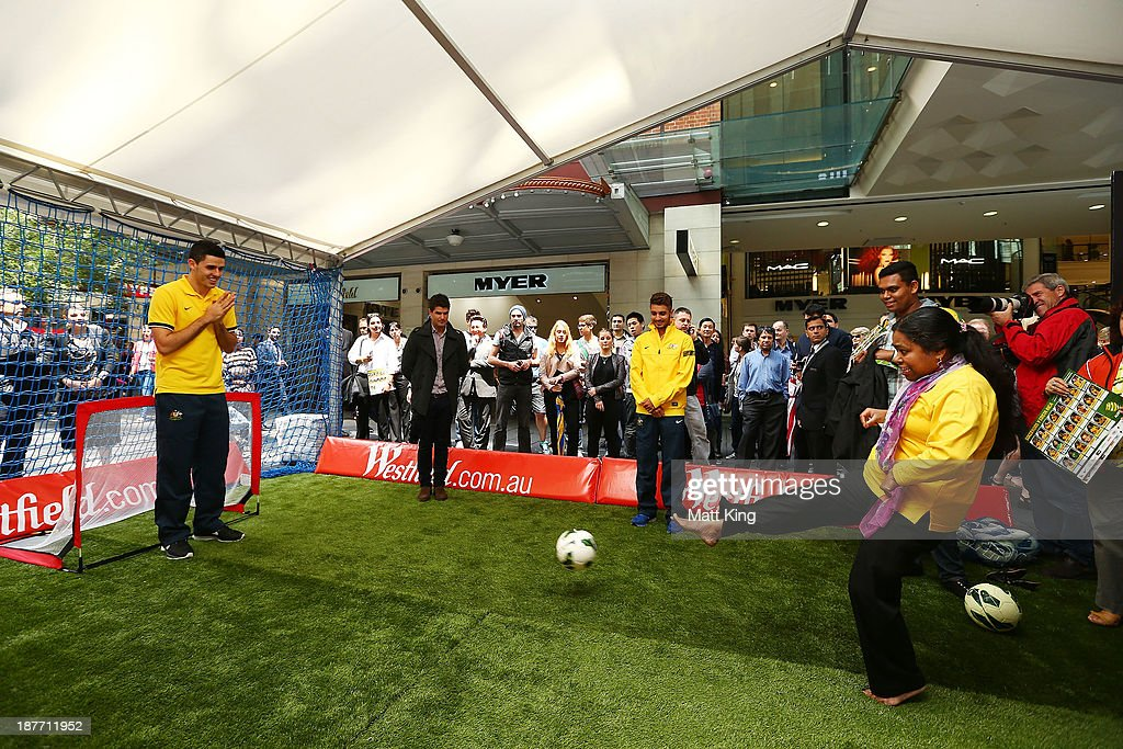 Tom Rogic takes part in a fan competition during an Australian Socceroos public appearance at Westfield Sydney on November 12, 2013 in Sydney, Australia.