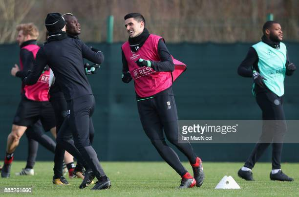 Tom Rogic warms up with team mates during a Celtic training session on the eve of their UEFA Champions League match against Anderlecht at Lennoxtown...
