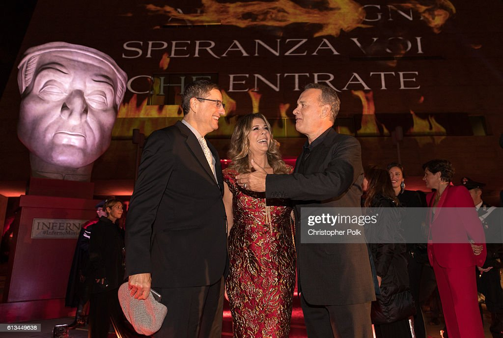 Tom Rothman, Rita Wilson and Tom Hanks attend the INFERNO World Premiere Red Carpet at the Opera di Firenze on October 8, 2016 in Florence, Italy.