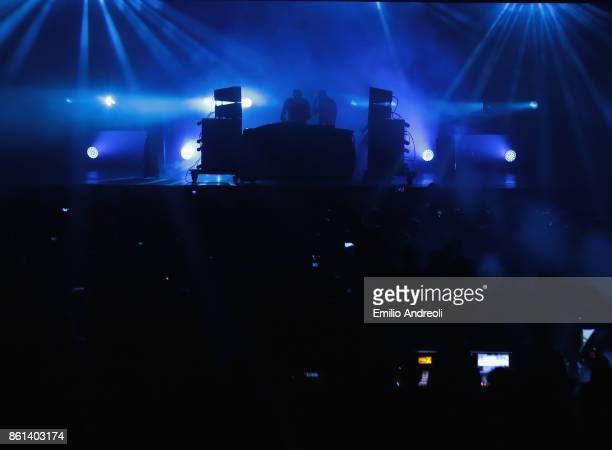 Tom Rowlands and Ed Simons from The Chemical Brothers perform live on stage during OGR Big Bang on October 14 2017 in Turin Italy