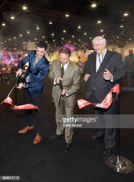 Tom Sandoval Chairman of the NBC Show Advisory Board Thom Greco and CEO of Questex and NBC Show's Kerry Gumas cut the ribbon on day two of the 32nd...