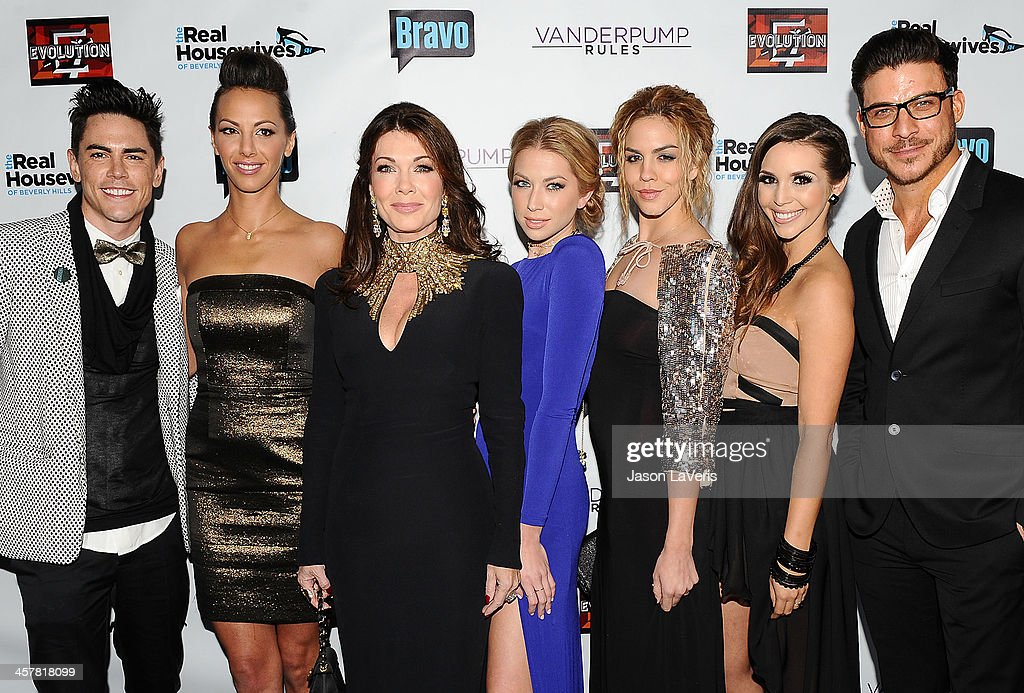 Tom Sandoval, Kristen Doute, <a gi-track='captionPersonalityLinkClicked' href=/galleries/search?phrase=Lisa+Vanderpump&family=editorial&specificpeople=6834933 ng-click='$event.stopPropagation()'>Lisa Vanderpump</a>, <a gi-track='captionPersonalityLinkClicked' href=/galleries/search?phrase=Stassi+Schroeder&family=editorial&specificpeople=4395032 ng-click='$event.stopPropagation()'>Stassi Schroeder</a>, Katie Maloney, Scheana Marie and <a gi-track='captionPersonalityLinkClicked' href=/galleries/search?phrase=Jax+Taylor&family=editorial&specificpeople=10069850 ng-click='$event.stopPropagation()'>Jax Taylor</a> attend the 'The Real Housewives of Beverly Hills' and 'Vanderpump Rules' premiere party at Boulevard3 on October 23, 2013 in Hollywood, California.