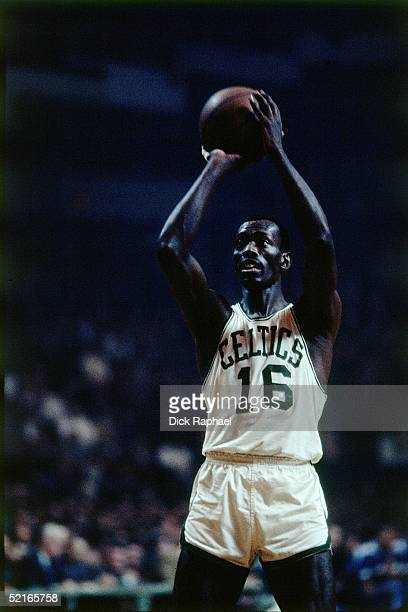Tom 'Satch' Sanders of the Boston Celtics shoots a free throw during an NBA game at the Boston Garden circa 1960 in Boston Massachusetts NOTE TO USER...
