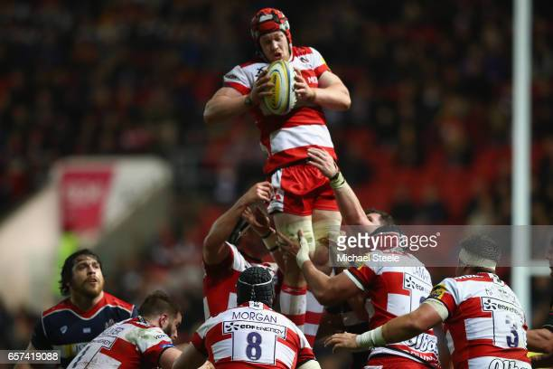 Tom Savage of Gloucester claims the ball at a lineout during the Aviva Premiership match between Bristol Rugby and Gloucester Rugby at Ashton Gate on...