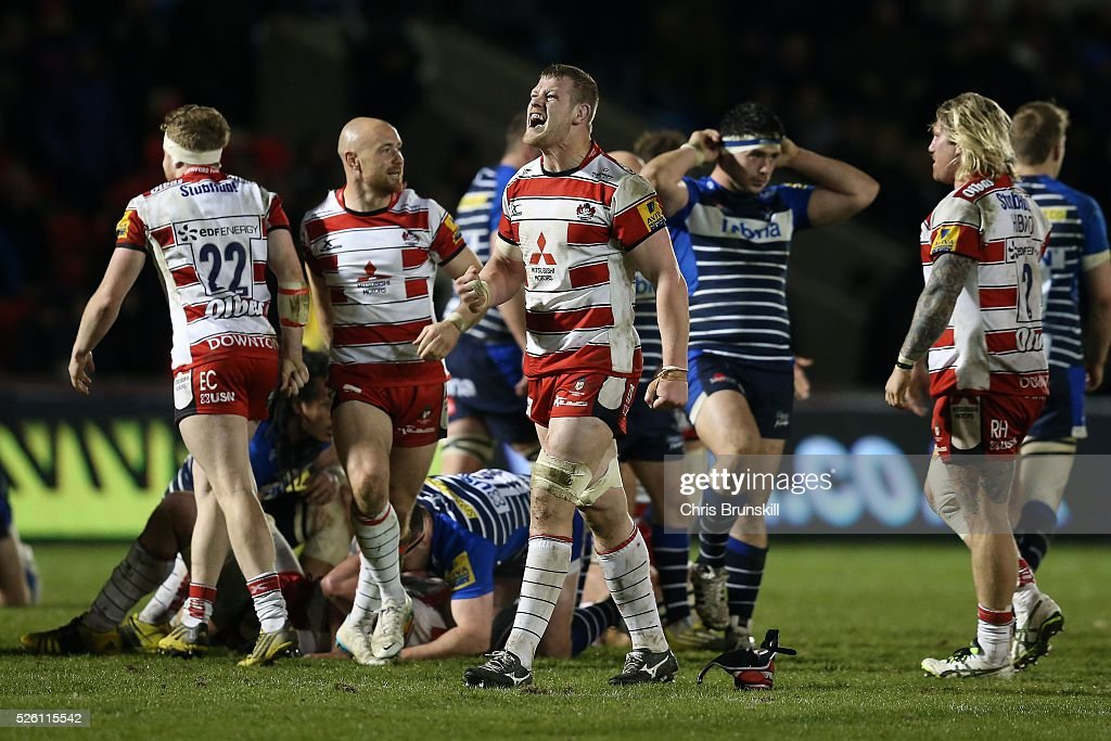 <a gi-track='captionPersonalityLinkClicked' href=/galleries/search?phrase=Tom+Savage+-+Rugbyer&family=editorial&specificpeople=11374349 ng-click='$event.stopPropagation()'>Tom Savage</a> of Gloucester Rugby celebrates at full-time following the Aviva Premiership match between Sale Sharks and Gloucester Rugby at the AJ Bell Stadium on April 29, 2016 in Salford, England.