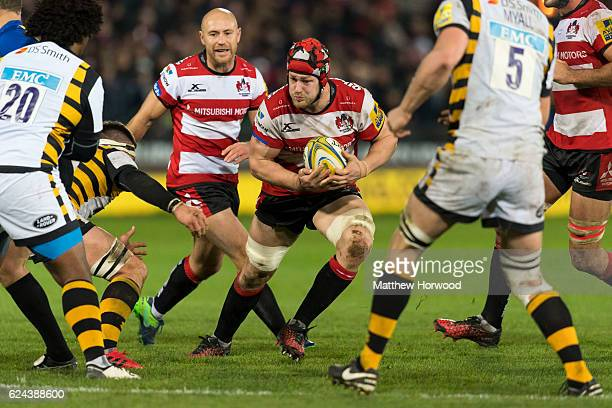 Tom Savage of Gloucester Rugby in action during the Aviva Premiership match between Gloucester Rugby and Wasps at Kingsholm Stadium on November 19...
