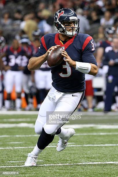 Tom Savage of the Houston Texans at the MercedesBenz Superdome on August 30 2015 in New Orleans Louisiana