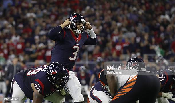 Tom Savage of the Houston Texans calls signals at the line of scrimmage in the fourth quarter against the Cincinnati Bengals at NRG Stadium on...