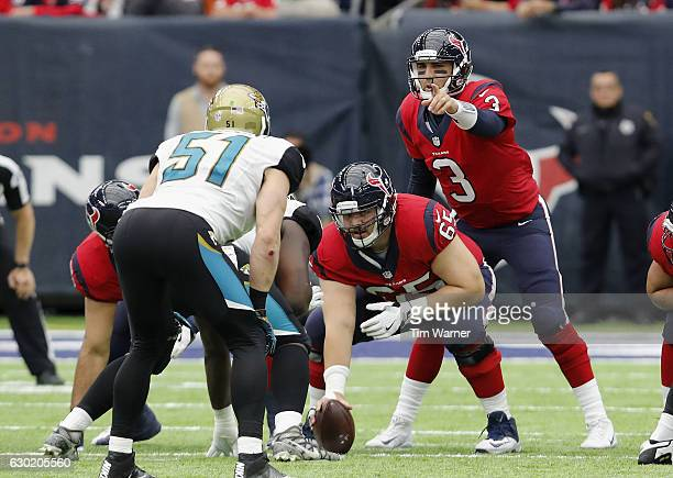 Tom Savage of the Houston Texans calls signals from the line of scrimmage in the second quarter against the Jacksonville Jaguars at NRG Stadium on...