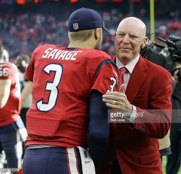Tom Savage of the Houston Texans hugs Houston Texans owner Bob McNair after the Texans defeated the Jacksonville Jaguars 2120 at NRG Stadium on...