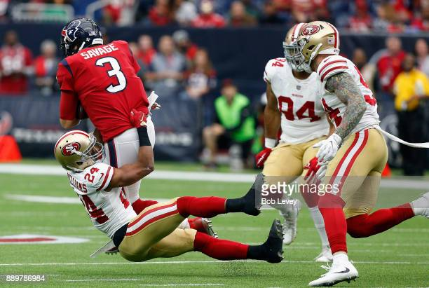 Tom Savage of the Houston Texans is sacked by K'Waun Williams of the San Francisco 49ers at NRG Stadium on December 10 2017 in Houston Texas