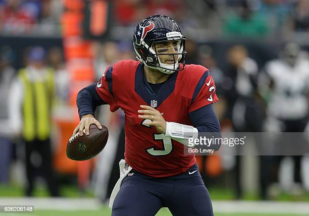 Tom Savage of the Houston Texans looks for a receiver against the Jacksonville Jaguars at NRG Stadium on December 18 2016 in Houston Texas