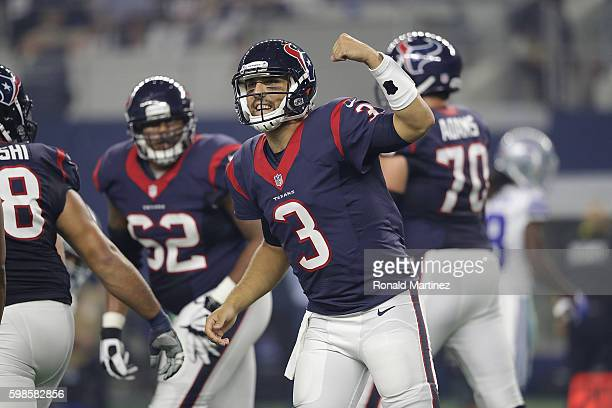 Tom Savage of the Houston Texans reacts during a preseason game against the Dallas Cowboys at ATT Stadium on September 1 2016 in Arlington Texas