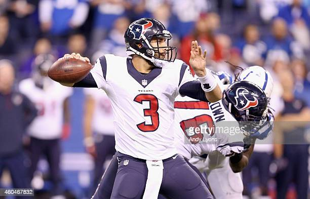 Tom Savage of the Houston Texans throws a pass during the game against the Indianapolis Colts at Lucas Oil Stadium on December 14 2014 in...