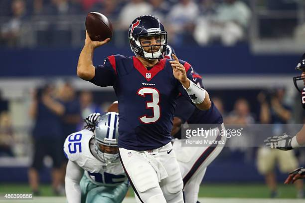 Tom Savage of the Houston Texans throws against the Dallas Cowboys in the first half during a preseason game on September 3 2015 in Arlington Texas