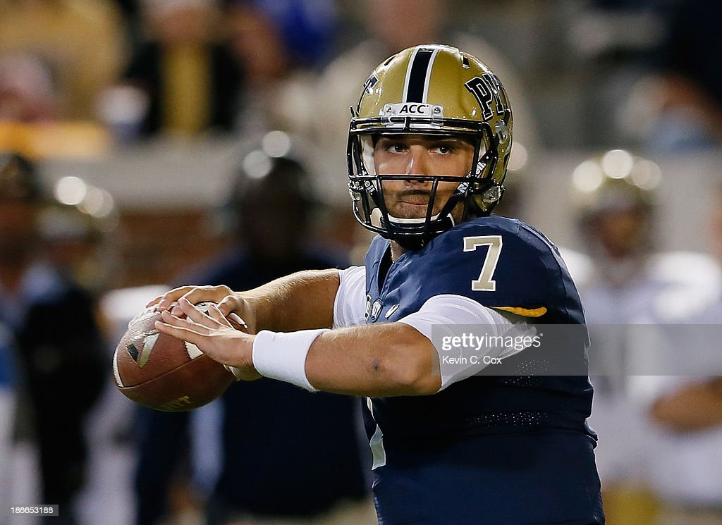 Tom Savage #7 of the Pittsburgh Panthers looks to pass against the Georgia Tech Yellow Jackets at Bobby Dodd Stadium on November 2, 2013 in Atlanta, Georgia.