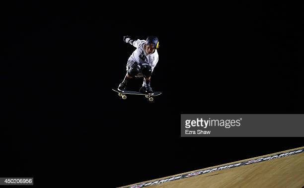 Tom Schaar goes over a jump in the Skateboard Big Air Finals during the X Games Austin at Circuit of The Americas on June 6 2014 in Austin Texas...