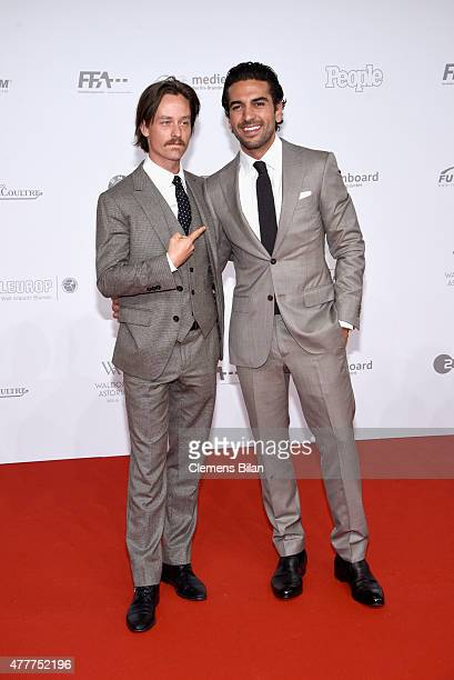 Tom Schilling and Elyas M'Barek arrive for the German Film Award 2015 Lola at Messe Berlin on June 19 2015 in Berlin Germany
