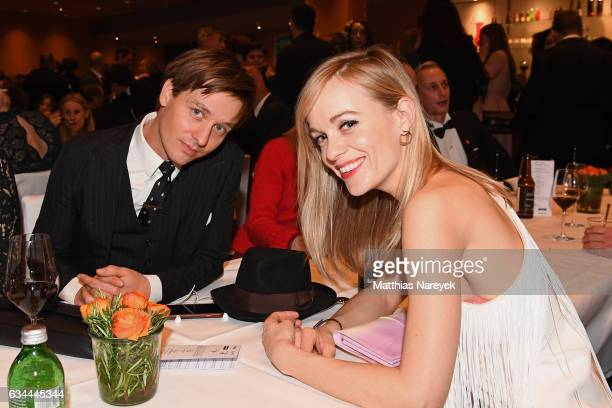 Tom Schilling and Friederike Kempter attend the opening party during the 67th Berlinale International Film Festival Berlin at Berlinale Palace on...