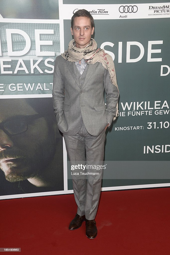 <a gi-track='captionPersonalityLinkClicked' href=/galleries/search?phrase=Tom+Schilling&family=editorial&specificpeople=235897 ng-click='$event.stopPropagation()'>Tom Schilling</a> attends the 'Inside Wikileaks' Germany Premiere at Kulturbrauerei on October 21, 2013 in Berlin, Germany.