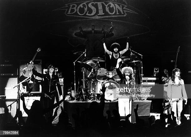 Tom Scholz Sib Hashian Brad Delp Barry Goudreau and Fran Sheehan of the rock group 'Boston' perform onstage in circa 1978