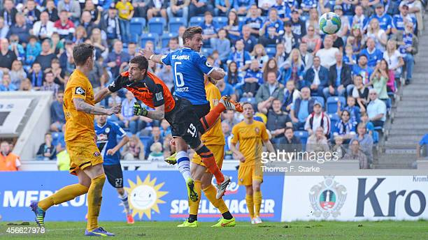 Tom Schuetz of Bielefeld scores his teams third goal during the Third League match between Arminia Bielefeld and Dynamo Dresden at Schueco Arena on...