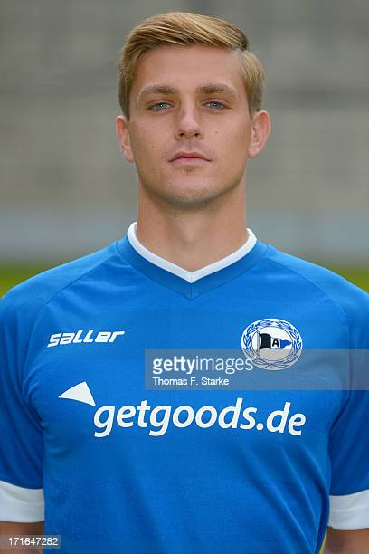 Tom Schuetz poses during the Second Bundesliga team presentation of Arminia Bielefeld at Schueco Arena on June 27 2013 in Bielefeld Germany