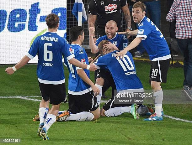 Tom Schuetz Stephan Salger Philipp Riese Kacper Przybylko and Sebastian Hille of Bielefeld celebrate their second goal during the Second Bundesliga...