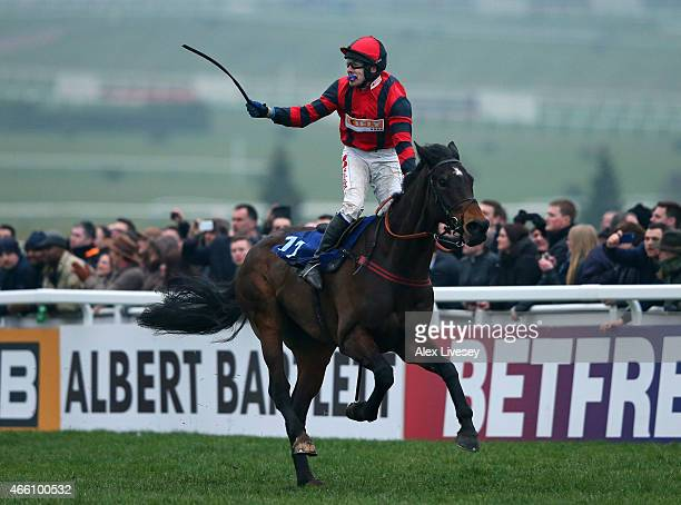 Tom Scudamore on Next Sensation celebrates winning the AP McCoy Grand Annual Handicap Chase during the Cheltenham Gold Cup day at the Cheltenham...
