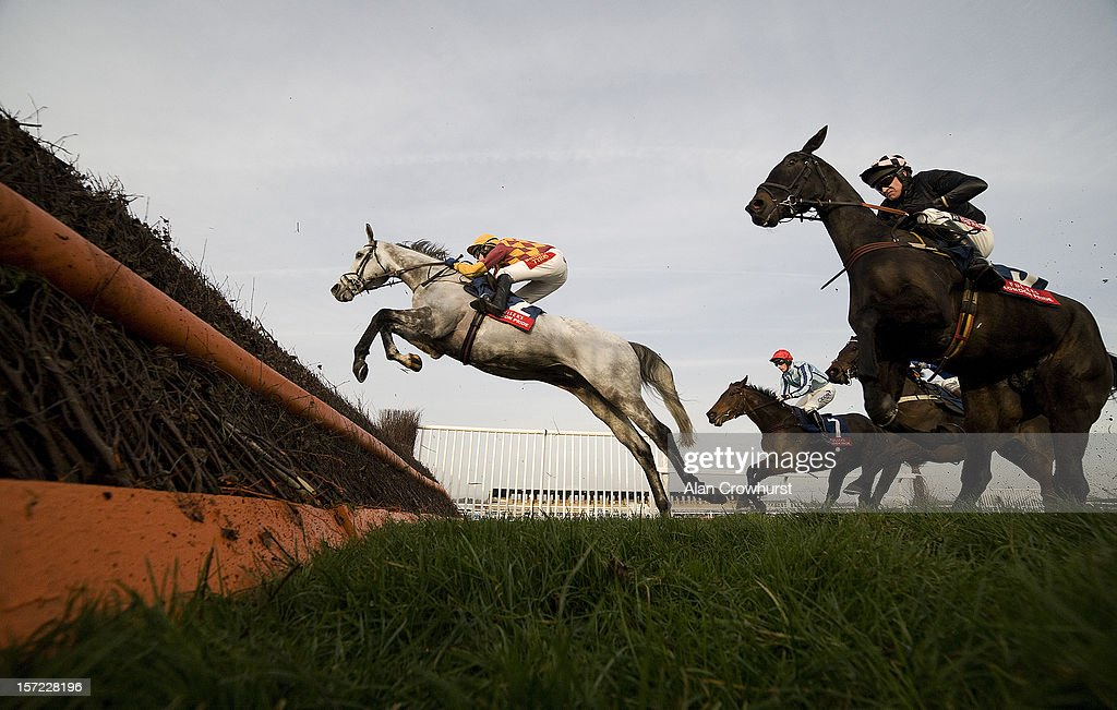 Tom Scudamore riding Dynaste on their way to winning the Fuler's London Pride Novices' Steeple Chase at Newbury racecourse on November 30, 2012 in Newbury, England.