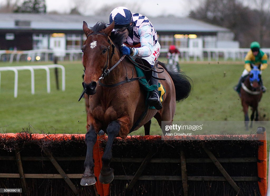 Tom Scudamore riding Navanman clear the last to win The Wells Next The Sea Handicap Hurdle Race at Fakenham racecourse on February 08, 2016 in Fakenham, England.