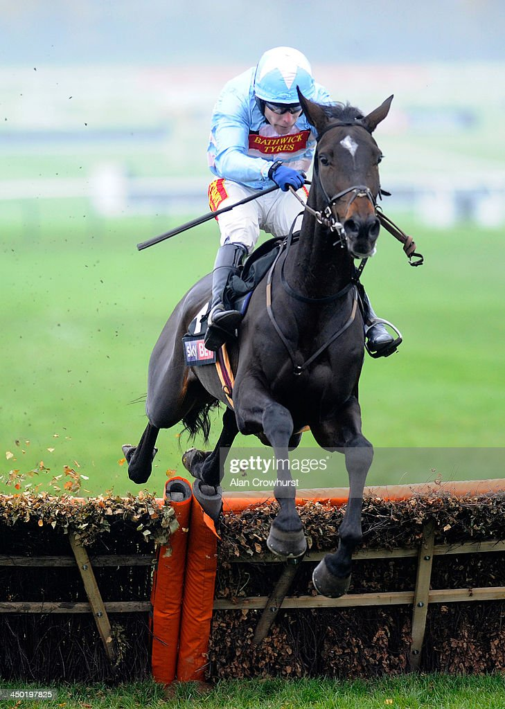 Tom Scudamore riding The Liquidator clear the last to win The Sky Bet Supreme trial Novices' Hurdle Race at Cheltenham racecourse on November 17, 2013 in Cheltenham, England.