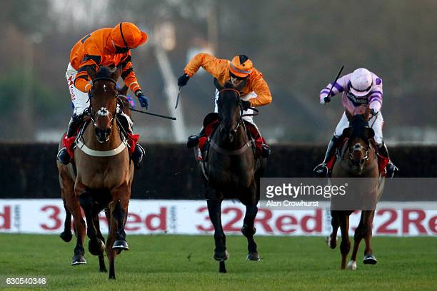 Tom Scudamore riding Thistlecrack celebrates half way up the runin to win The 32Red King George VI Steeple Chase at Kempton Park on December 26 2016...