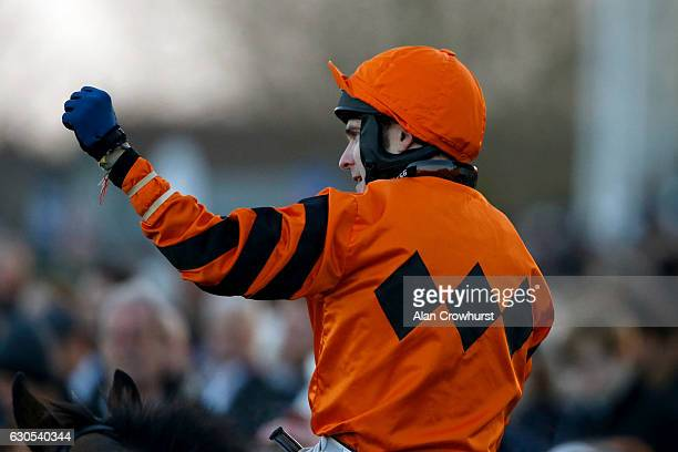 Tom Scudamore riding Thistlecrack celebrates winning The 32Red King George VI Steeple Chase at Kempton Park on December 26 2016 in Sunbury England