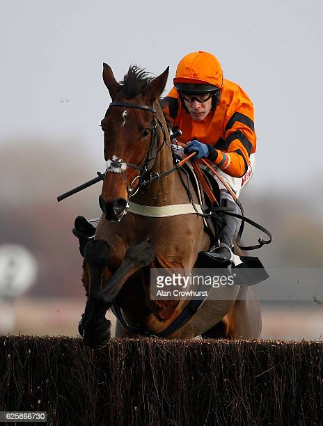 Tom Scudamore riding Thistlecrack clear the last to win The bet365 Novices' Steeple Chase at Newbury Racecourse on November 26 2016 in Newbury England