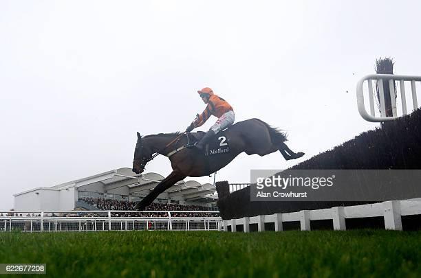 Tom Scudamore riding Thistlecrack on their way to winning The mallardjewellerscom Novices' Steeple Chase at Cheltenham Racecourse on November 12 2016...