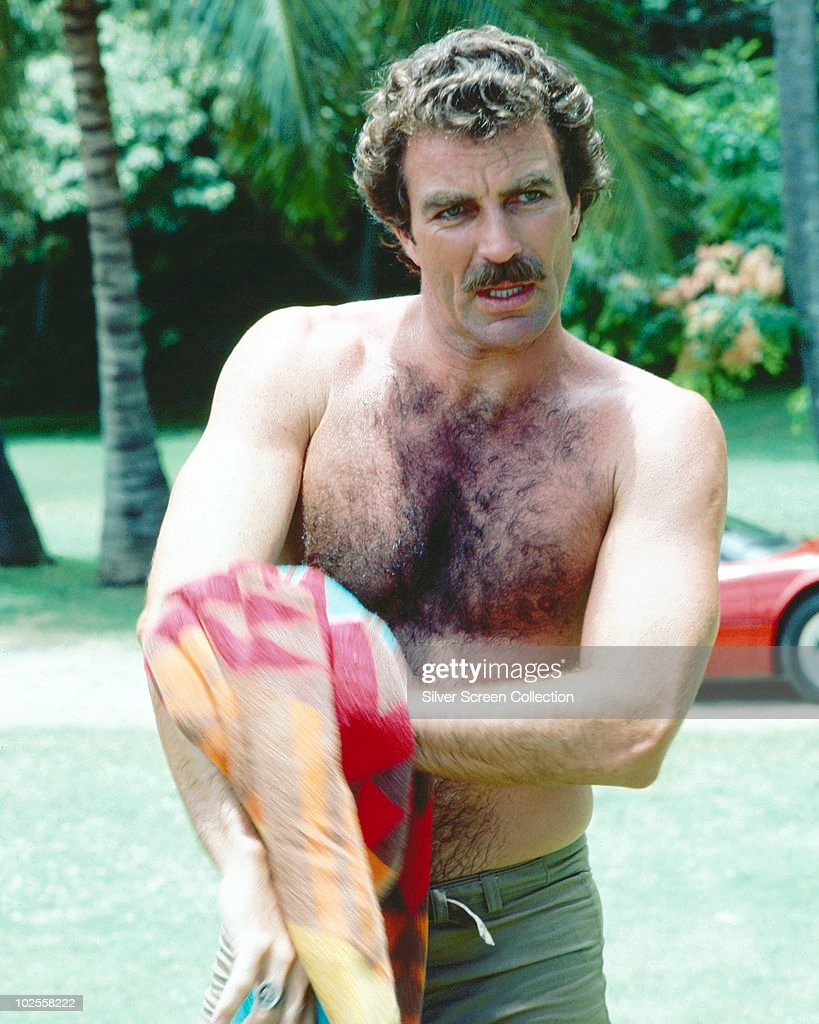 <a gi-track='captionPersonalityLinkClicked' href=/galleries/search?phrase=Tom+Selleck&family=editorial&specificpeople=208627 ng-click='$event.stopPropagation()'>Tom Selleck</a> as the titular investigator in the television series 'Magnum, P.I.', circa 1985.