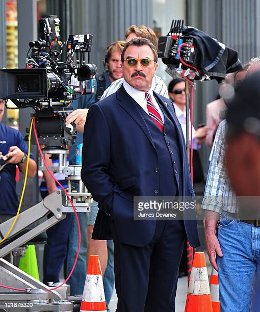 Tom Selleck films on location for 'Blue Bloods' on the streets of Manhattan on August 22 2011 in New York City