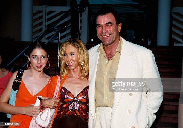Tom Selleck with wife Jillie Mack and daughter during 44th Monte Carlo Television Festival Beach Club Party Arrivals at Monte Carlo Beach Hotel in...