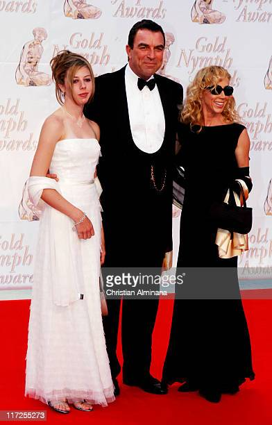 Tom Selleck with wife Jillie Mack and daughter during 44th Monte Carlo Television Festival Closing Ceremony Arrivals at Grimaldi Forum in Monte Carlo...
