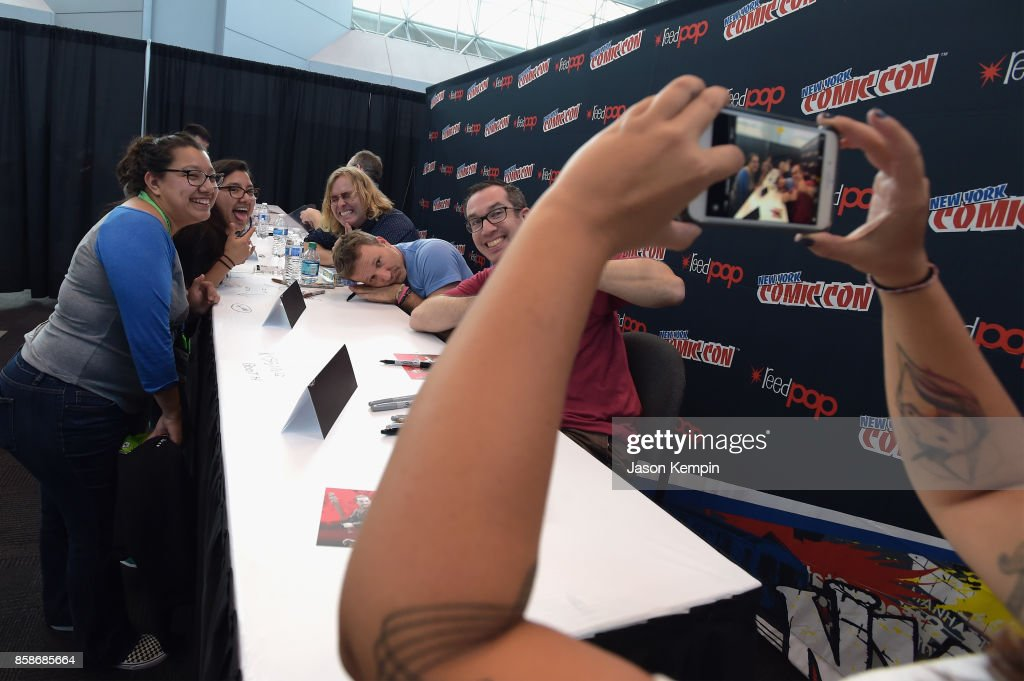 Tom Sheppard, Breckin Meyer, and Matt Senreich attend the Robot Chicken signing during New York Comic Con 2017 - JK at Jacob K. Javits Convention Center on October 7, 2017 in New York City. 27356_002