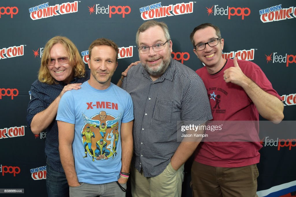 Tom Sheppard, Breckin Meyer, Tom Root, and Matt Senreich attend the Robot Chicken Press Hour during New York Comic Con 2017 - JK at Jacob K. Javits Convention Center on October 7, 2017 in New York City. 27356_002