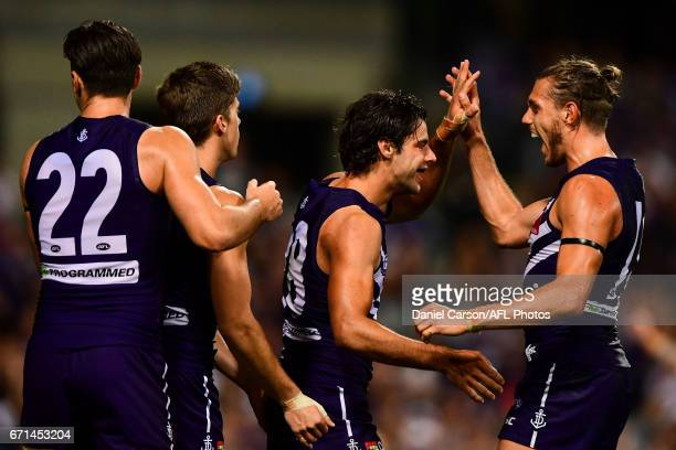 Tom Sheridan of the Dockers and Brady Grey of the Dockers celebrates a goal during the 2017 AFL round 05 match between the Fremantle Dockers and the...