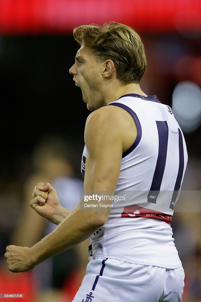 Tom Sheridan of the Dockers celebrates a goal during the round 10 AFL match between the St Kilda Saints and the Fremantle Dockers at Etihad Stadium on May 28, 2016 in Melbourne, Australia.