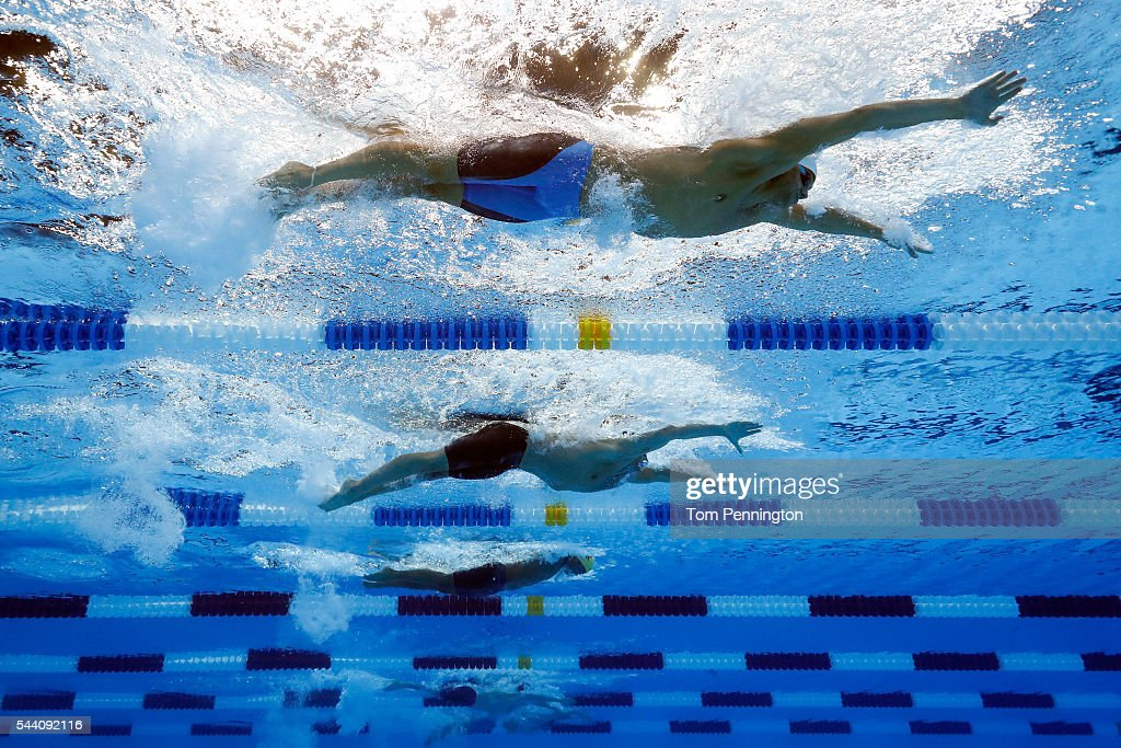 <a gi-track='captionPersonalityLinkClicked' href=/galleries/search?phrase=Tom+Shields&family=editorial&specificpeople=4105616 ng-click='$event.stopPropagation()'>Tom Shields</a> and <a gi-track='captionPersonalityLinkClicked' href=/galleries/search?phrase=Ryan+Lochte&family=editorial&specificpeople=182557 ng-click='$event.stopPropagation()'>Ryan Lochte</a> of the United States compete in a heat for the Men's 100 Meter Butterfly during Day Six of the 2016 U.S. Olympic Team Swimming Trials at CenturyLink Center on July 1, 2016 in Omaha, Nebraska.
