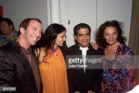 Tom Silverman of Tommy Boy Records Donna D'Cruz founder of Rasa Music Deepak Chopra and Diane von Furstenberg at the Rasa Music CD release party for...
